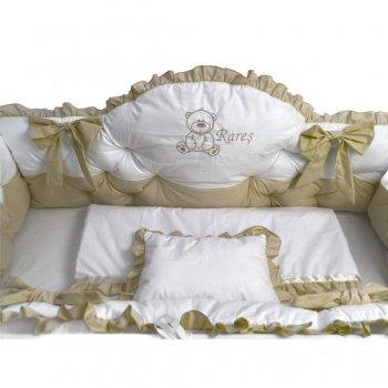 Lenjerie de pat cu apărători matlasate boltite, fundițe, 7 piese Bej - Alb 120\60 cm