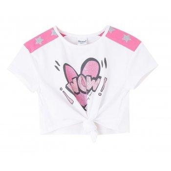 Bluza alba cu nuante de roz