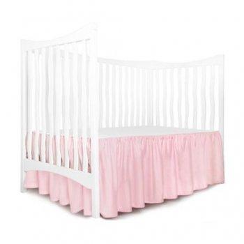 Cearsaf cu volanas pe 3 laturi si elastic pe colt, pentru saltea bebelusi 120x60 cm imprimeu alb cu roz