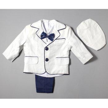 Costumas bleu pentru botez