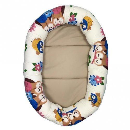 Cuib baby nest bebelusi forma ovala imprimeu bufnite cu maro