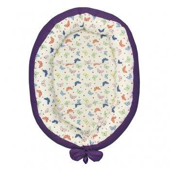 Cuib baby nest bebelusi forma ovala imprimeu fluturasi colorati - mov