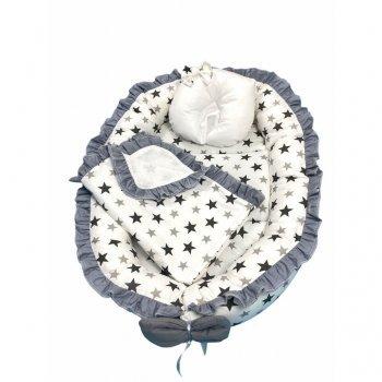 Cuib baby nest bebelusi cu volanase imprimeu stelute negre