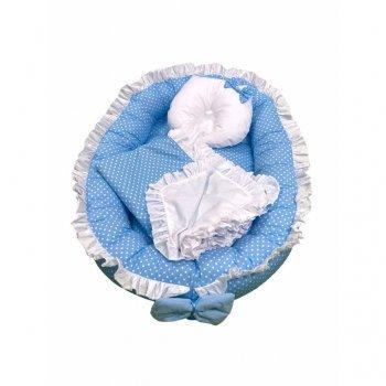 Cuib baby nest bebelusi cu volanase imprimeu albastru cu buline albe