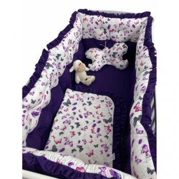 Lenjerie de pat cu 6 apărători matlasate bicolore mov- Fluturi gri-mov 120\60 cm