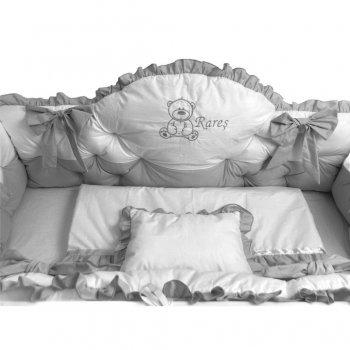 Lenjerie de pat cu apărători matlasate boltite, fundițe, 7 piese Gri - Alb 120\60 cm