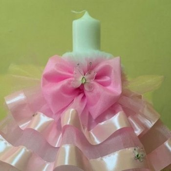 Lumanare pentru botez cu tulle roz