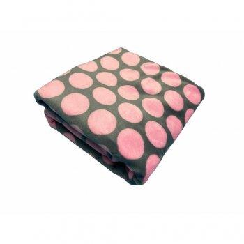 Paturica din plush cocolino Buline roz pe gri 70.100 cm