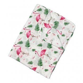 Paturica dubla de muselină imprimeu flamingo