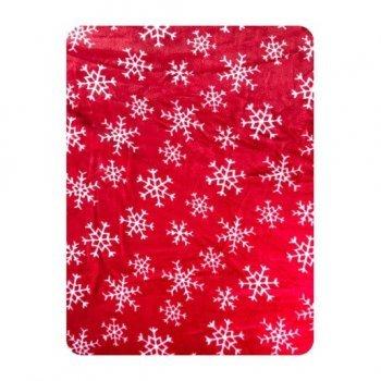 Paturica din plush cocolino imprimeu fulgi de nea pe rosu 70.100 cm