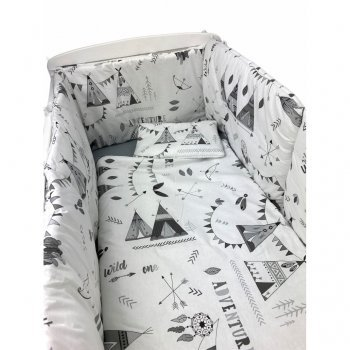 Lenjerie de pat bebelusi cu aparatori laterale pufoase imprimeu corturi de indian gri