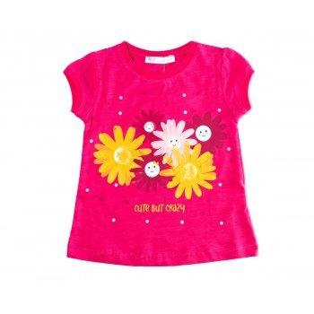 Tricou fucsia imprimeu floricele