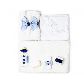 Set botez 7 piese, alb cu bleu