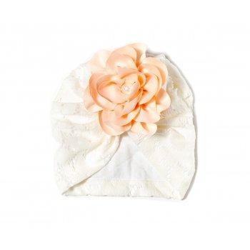 Turban alb brodat cu floricica
