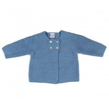 Pulover albastru cu nasturei