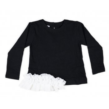 Bluza neagra cu volan alb - Idokids
