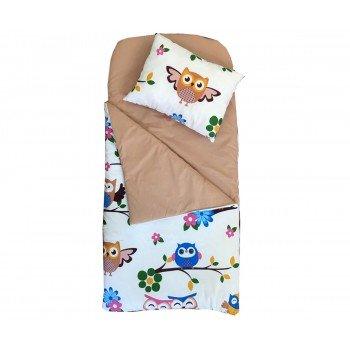 Sac de dormit tip buzunar imprimeu bufnite colorate