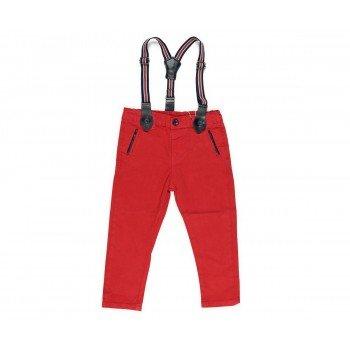 Pantaloni rosii cu bretele
