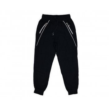 Pantaloni trening negri cu fermoar