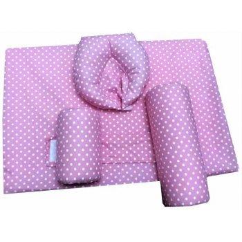 Set Antiregurgitare si pozitionare cu plan inclinat pentru bebelusi , imprimeu buline albe pe roz
