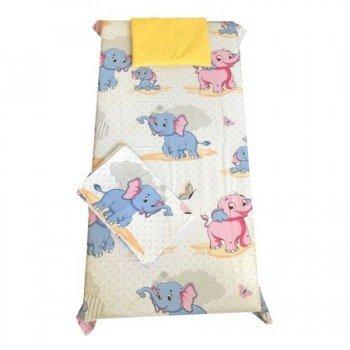 Set paturica bebe cu cearsaf si pernuta pentru pat 120/60 cm imprimeu animale