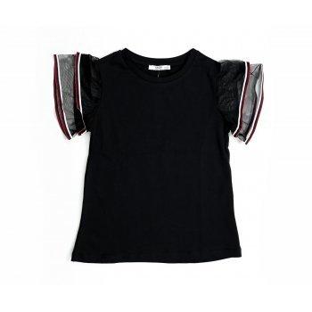 Tricou negru cu volan si tulle