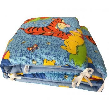 Aparatori laterale protectii laterale pentru pat, pufoase, imprimeu Aiurila si Winnie 120/60 cm