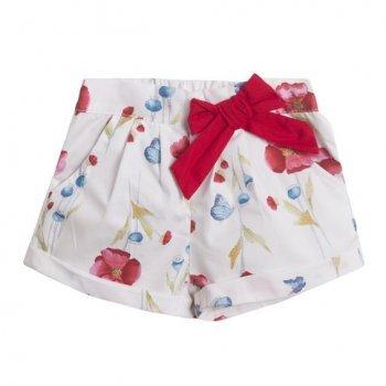 Pantaloni scurti  cu flori si funda rosie