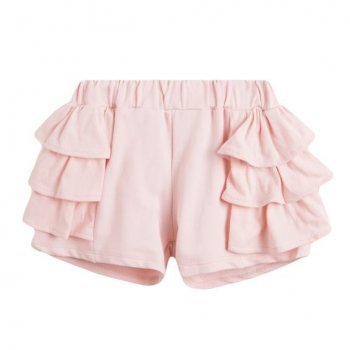 Pantaloni scurti roz pal cu volane