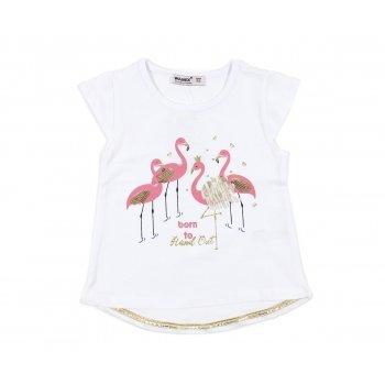 Tricou alb cu imprimeu flamingo roz
