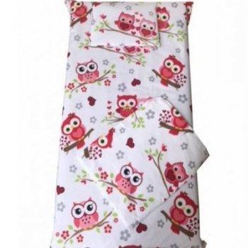 Set paturica bebe cu cearsaf si pernuta pentru pat 140/70 cm imprimeu bufnite rosii