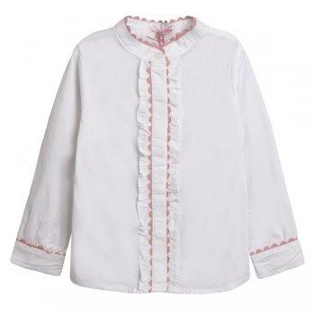 Camasa alb cu roz pal