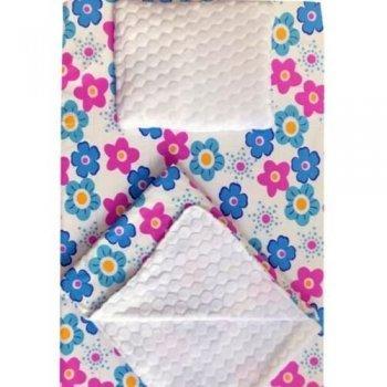 Set 3 piese de iarna paturica cu cearsaf si pernuta pentru pat 120/60 cm imprimeu floricele