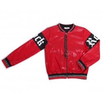Jacheta rosie cu imprimeu text