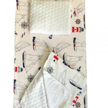 Set 3 piese de iarna paturica cu cearsaf si pernuta pentru pat 120/60 cm