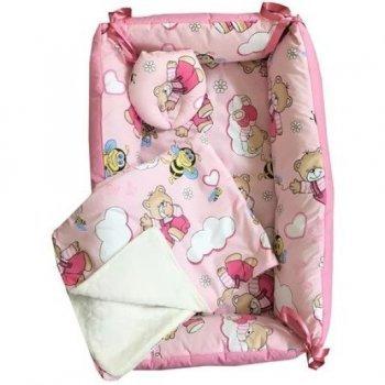 Reductor Bebe Bed Nest cu paturica si pernuta antiplagiocefalie imprimeu ursi cu albine pe roz