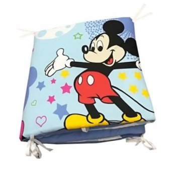 Aparatori laterale protectii laterale pat pufoase 120/60 cm h39cm imprimeu Mickey Mouse