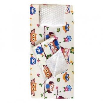 Set 3 piese de iarna paturica cu cearsaf si pernuta pentru pat 120/60 cm imprimeu bufnite maro