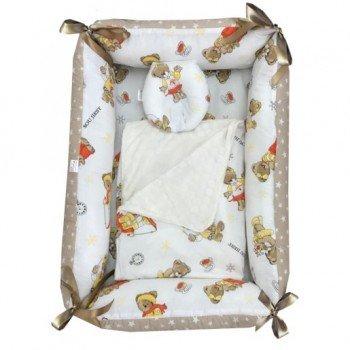 Reductor Bebe Bed Nest cu paturica si pernuta antiplagiocefalie imprimeu ursuleti la ski