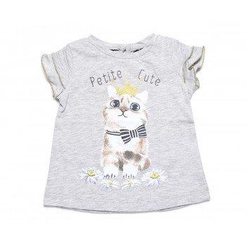 Tricou gri cu imprimeu pisicuta