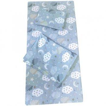 Set 3 piese paturica cu cearsaf si pernuta 120/60 cm imprimeu norisori albastrii