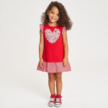 Rochie rosie cu imprimeu inimioara - iDO Kids