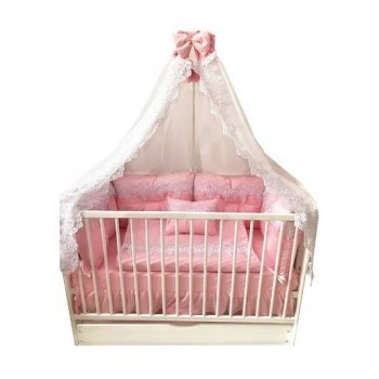 Lenjerie roz brodata pentru patut bebe 120/60cm cu 4 aparatori super groase cu baldachin si suport metalic baldachin