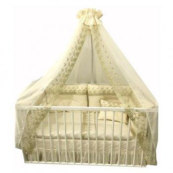 Lenjerie ivory brodata pentru patut bebe cu 4 aparatori super groase, cu baldachin si suport metalic baldachin