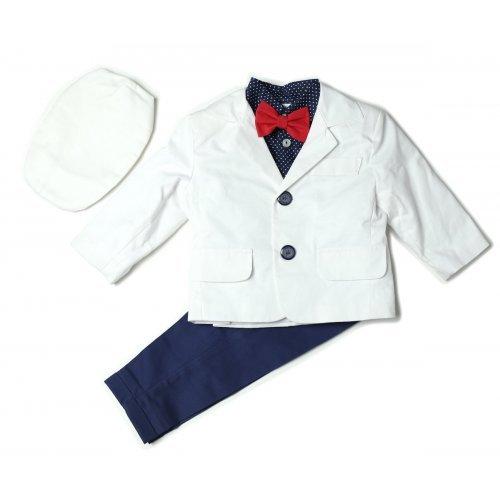 Costumas alb cu bleumarin pentru botez