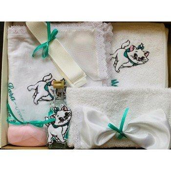 Set botez 8 piese imprimeu pisicuta