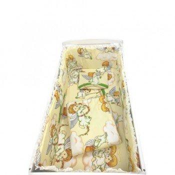 Lenjerie de patut bebelusi 120/60 cm 5 piese cu aparatori laterale pe burete imprimeu ingerasi bej