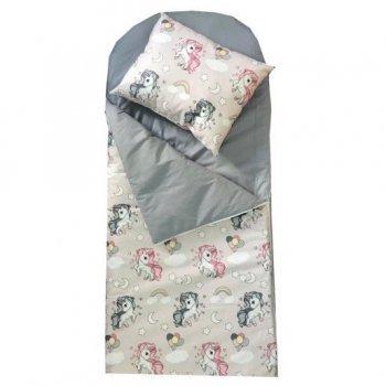 Sac de dormit buzunar de iarna 1-3 ani imprimeu unicorni cu gri