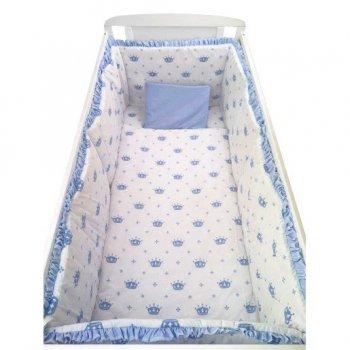 Lenjerie de pat bebelusi  120/60 cm cu aparatori laterale pufoase imprimeu coronite albastre