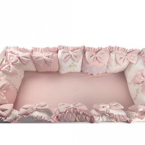 Aparatori din 13 pernute pe roz cu funde 120x 60 cm